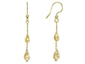 14k Yellow Gold Oval Station Dangle Earrings