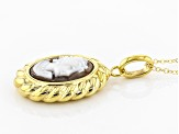 14k Yellow Gold Artformed Cameo Pendant With Necklace 18 inch