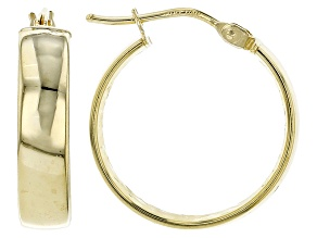 14k Yellow Gold Tube Hoop Earrings 15mm