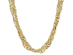 14k Yellow Gold Hollow Four Strand Grande Singapore Necklace