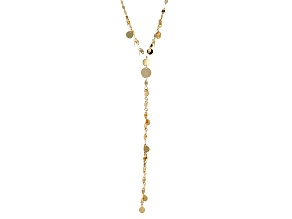 14k Yellow Gold Hollow Drop Circle Necklace 18 inch