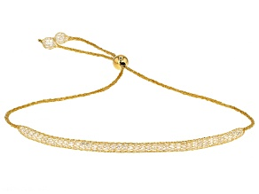 3.84ctw Diamond Simulant 14k Yellow Gold Hollow Mesh Bolo Bracelet