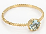 Blue Topaz 14k Yellow Gold Hollow Accent Solitaire Ring 0.45 Ctw