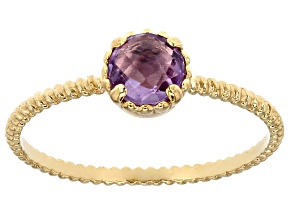 Amethyst 14k Yellow Gold Hollow Accent Solitaire Ring 0.25ctw
