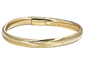 14k Yellow Gold Hollow Herringbone Bangle Bracelet 7 inch