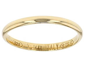 14k Yellow Gold Hollow Mirror Band Ring With A Sterling Silver Core.