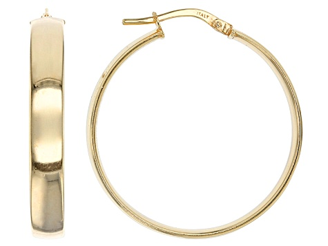 14k Yellow Gold Ribbon Tube Hoop Earrings With Sterling Silver Core.