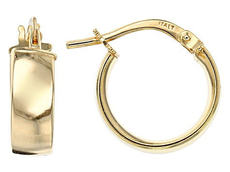 14k Yellow Gold Ribbon Tube Hoop Earrings With Sterling Silver Core
