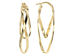14k Yellow Gold Ballerina Hoops With A Sterling Silver Core