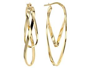 14k Yellow Gold Hollow Ballerina Hoop Earrings.
