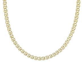 14k Yellow Gold Hollow Ritornello 18 inch Chain Necklace