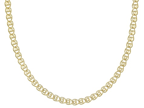 14 kt Yellow Gold Hollow Ritornello 20 inch Chain Necklace