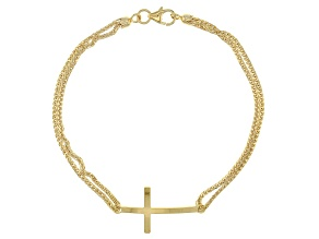 14k Yellow Gold Hollow Wheat With Center Cross 7 1/2 inch Bracelet