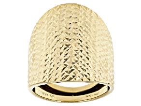 14k Yellow Gold Diamond Cut Bold Statement Ring