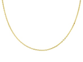 14k Yellow Gold Glitter Rolo 18 inch Chain Necklace