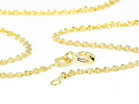 14k Yellow Gold Glitter Rolo 20 inch Chain Necklace