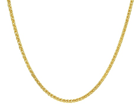 14k Yellow Gold with a Sterling Silver Core Square Wheat 20 inch Chain Necklace