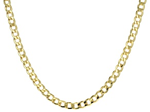 14k Yellow Gold with a Sterling Silver Core Curb 20 inch Necklace