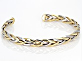 14K Yellow Gold and Rhodium over 14k Yellow Gold with a Sterling Silver Core Braided Cuff