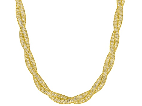 40ctw White Diamond Simulant 14k Yellow Gold 18 inch Necklace