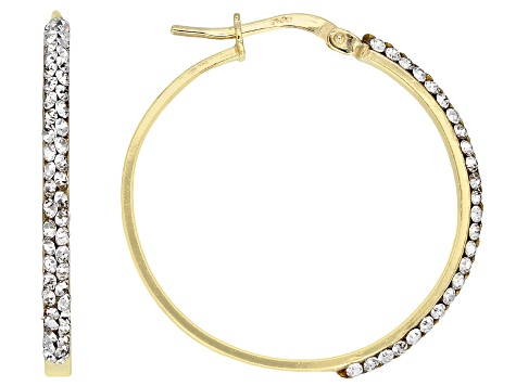White Cubic Zirconia 14k Yellow Gold With a Sterling Silver Core Tube Hoop Earrings .16ctw