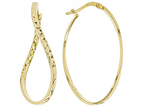 14k Yellow Gold with a Sterling Silver Core Diamond Cut Wavy Tube Hoop Earrings
