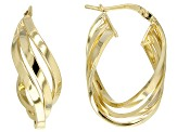 14k Yellow Gold with Sterling Silver Core Polished Three-Strand Tube Hoop Earrings