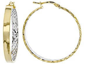14k Two-Tone With a Sterling Silver Core Diamond Cut and Polished Tube Hoop Earrings