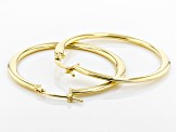 14k Yellow Gold With A Sterling Silver Core Domed Tube Hoop Earrings
