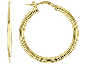 14 kt Yellow Gold With a Sterling Silver Core Domed Tube Hoop Earrings