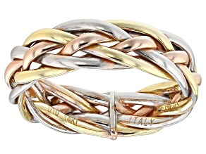 14k Yellow Gold and Pink and White Rhodium Over 14k Yellow Gold with Sterling Silver Core Band Ring