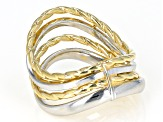 14k Yellow Gold & Rhodium over 14k Gold with Sterling Silver Core Wavy Band