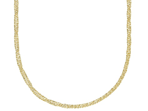 14k Yellow Gold With a Sterling Silver Core Singapore 18 inch Chain Necklace