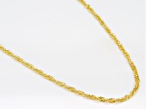 14k Yellow Gold With a Sterling Silver Core Singapore 20 inch Chain Necklace