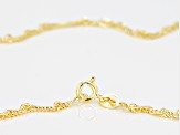 14k Yellow Gold With a Sterling Silver Core Singapore 24 inch Chain Necklace