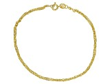 14k Yellow Gold With a Sterling Silver Core Singapore 7 1/2 inch Bracelet