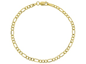 14k Yellow Gold With a Sterling Silver Core Figaro 7 1/2 inch Bracelet