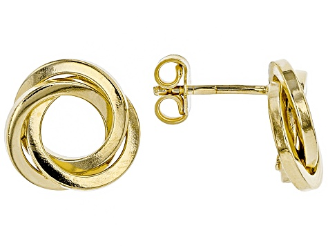 Splendido Oro™ Divino  14K  Yellow Gold With Sterling Silver Core Crossover Circle Earrings