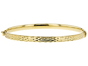 Splendido Oro™ Divino 14K Yellow Gold With Sterling Silver Core Diamond Cut Bangle Bracelet