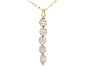 Splendido Oro™  White Cubic Zirconia 14K Yellow Gold Pendant With Rolo Chain 18 Inch