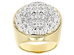 18k Yellow Gold And Rhodium Over Bronze Domed Diamond Cut Statement Ring