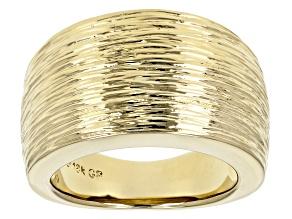 18k Yellow Gold Over Bronze Satin Finish Cigar Band Ring