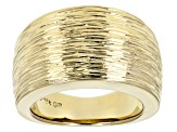 18k Yellow Gold Over Bronze Satin Finish Cigar Band Ring