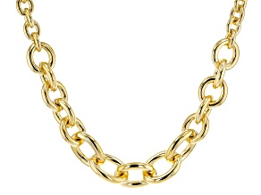 18k Yellow Gold Over Bronze Graduated Cable 21 inch Necklace