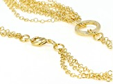 18k Yellow Gold Over Bronze Multi-Strand Curb 28.5 inch Necklace