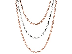 18k Rose Gold And Rhodium Over Bronze Rolo 23 inch Necklace