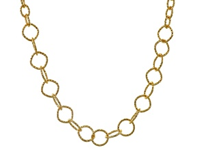 18k Yellow Gold Over Bronze Diamond Cut Cable 29 inch Necklace