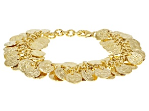 18k Yellow Gold Over Bronze Multi Coin 8 3/4 inch Bracelet