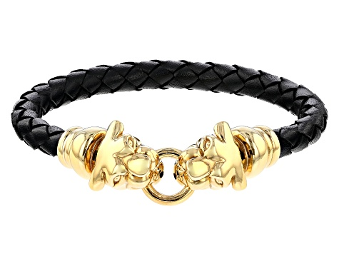18k Yellow Gold Over Bronze Panther Leather Braided 8 inch Bangle Bracelet