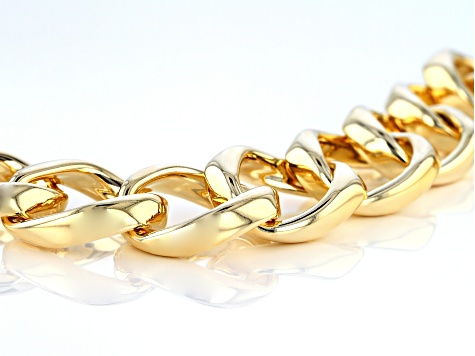 18k Yellow Gold Over Bronze Open Curb 8 1/4 inch Bracelet